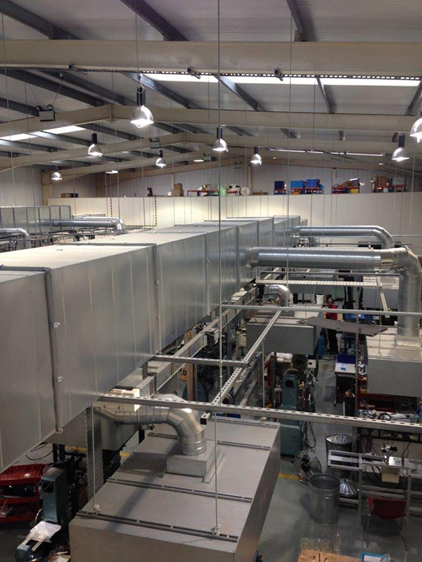 Fume Extraction Ventilation system for glass manufacturer